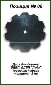 Диск для бороны БДВП, БДВП Лада (ромашка) сфера (8 мм)