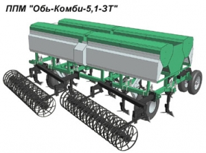 Почвообрабатывающие посевные машины Обь-Комби-5,1-ЗТ со стрельчатыми лапами-сошниками